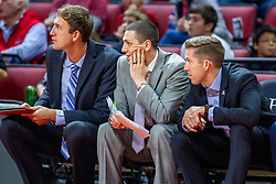 NORMAL, IL - November 06: Bruins Assistant Coaching staff Mick Hedgepeth, Sean Rutigliano, Tyler Holloway during a college basketball game between the ISU Redbirds and the Belmont Bruins on November 06 2019 at Redbird Arena in Normal, IL. (Photo by Alan Look)