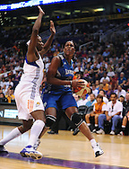 Sep 25, 2011; Phoenix, AZ, USA; Minnesota Lynx forward Taj McWilliams-Franklin (8) reacts on the court while playing against Phoenix Mercury at the US Airways Center. The Lynx defeated the Mercury 103-86. Mandatory Credit: Jennifer Stewart-US PRESSWIRE