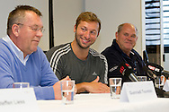"(R-L) Swiss Swimming National Head Coach Guennadi Touretski, swimmer Ian THORPE of Australia and Australian Swimming National Head Coach Leigh Nugent are pictured during a press confercene held at the Centro sportivo nazionale della gioventu (""youth and sports""-Centre) in Tenero, Switzerland, Wednesday, March 16, 2011. Five-time Olympic gold medallist Ian Thorpe has finalised his coaching set-up ahead of next year's London Olympic Games, announcing today that he will link up with former Australian Institute of Sport Coach and Russian born Gennadi Touretski in Switzerland. (Photo by Patrick B. Kraemer / MAGICPBK)"