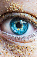 Close-up of Ryans eye after been in a sand pit. Nikon D800 macro 60mm lens, f13 @ 1/80sec. ISO 1250