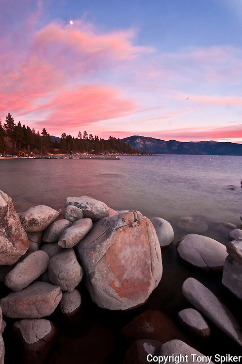 """Speedboat Beach Sunset 4"" - The sun sets over Lake Tahoe at Speedboat Beach, California"