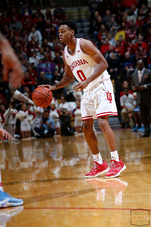 Indiana guard Curtis Jones (0) in action as Delaware State played Indiana in an NCCA college basketball game, in Indianapolis, Monday, Dec. 19, 2016. (AJ Mast)