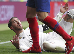February 9, 2019 - Madrid, Madrid, Spain - Sergio Ramos of Real Madrid in action during La Liga Spanish championship, , football match between Atletico de Madrid and Real Madrid, February 09th, in Wanda Metropolitano Stadium in Madrid, Spain. (Credit Image: © AFP7 via ZUMA Wire)