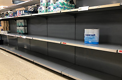 © Licensed to London News Pictures. 11/03/2020. Leeds UK. Empty shelves in the Toilet Roll isle at Sainsbury's in Colton, Leeds, today as people have started panic buying in fear of quarantine measures and shortages as the current Coronavirus ( COVID-19 ) spread starts to impact more people. Photo credit: Andrew McCaren/LNP