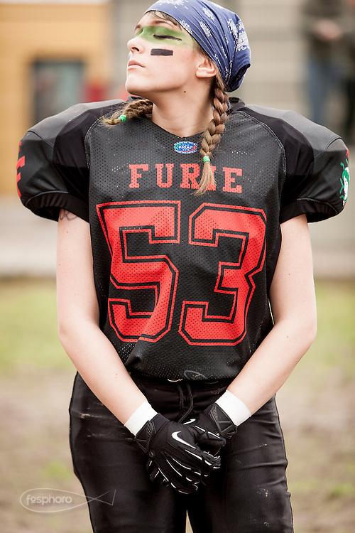 Cernusco SN, 28 aprile 2013 - Prima partita del primo Campionato Italiano di Football Americano Femminile. Furie  - Tempeste Sirene. 53 - Giulia Mazzetto
