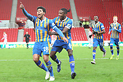 28 Josh Laurent celebrates the winning goal for Shrewsbury Town  during the The FA Cup 3rd round replay match between Stoke City and Shrewsbury Town at the Bet365 Stadium, Stoke-on-Trent, England on 15 January 2019.