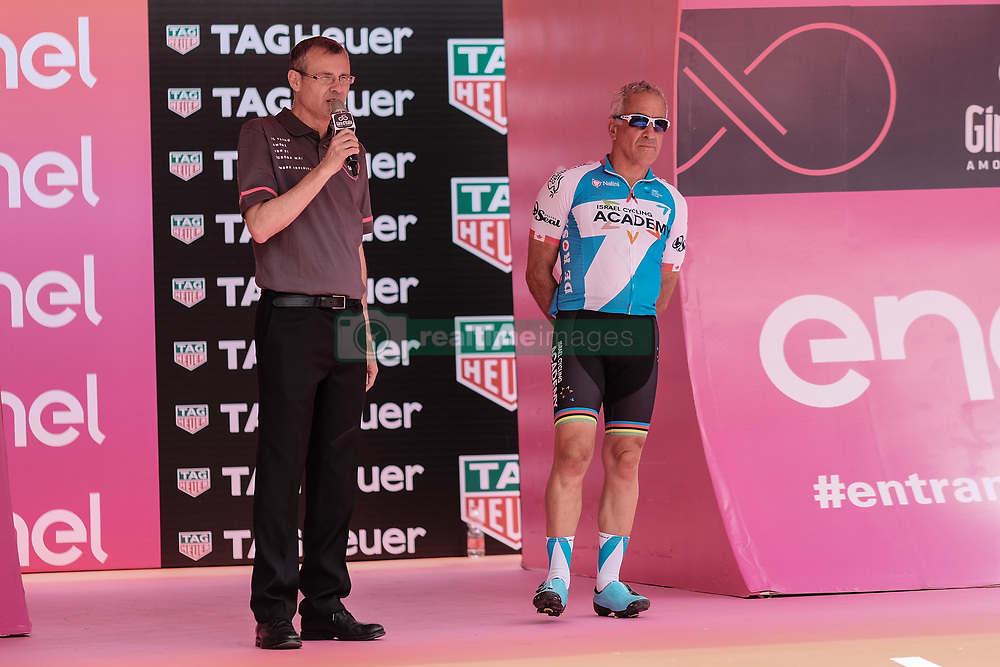 May 4, 2018 - Jerusalem, Israel - YARIV LEVIN, Minister of Tourism, welcomes participants and spectators as the 101st edition of Giro d'Italia, the Corsa Rosa, begins today in Jerusalem, history being made with the first ever Grand Tour start outside of Europe. Competing riders set out for the 9.7Km Jerusalem Individual Time Trial Stage 1. (Credit Image: © Nir Alon via ZUMA Wire)