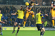 Bradford City defender James Meredith (3) heads at goal 0-0 during the EFL Trophy match between Oxford United and Bradford City at the Kassam Stadium, Oxford, England on 31 January 2017. Photo by Alan Franklin.