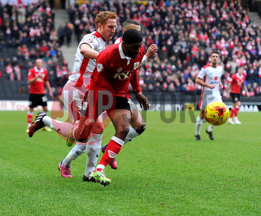 Bristol City's Mark Little battles for the ball with Milton Keynes Dons' Dean Lewington  - Photo mandatory by-line: Joe Meredith/JMP - Mobile: 07966 386802 - 07/02/2015 - SPORT - Football - Milton Keynes - Stadium MK - MK Dons v Bristol City - Sky Bet League One