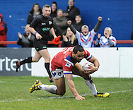 Bill Tupou of Wakefield Trinity Wildcats dives over to score during the Pre-season Friendly match at Belle Vue, Wakefield<br /> Picture by Richard Land/Focus Images Ltd +44 7713 507003<br /> 15/01/2017