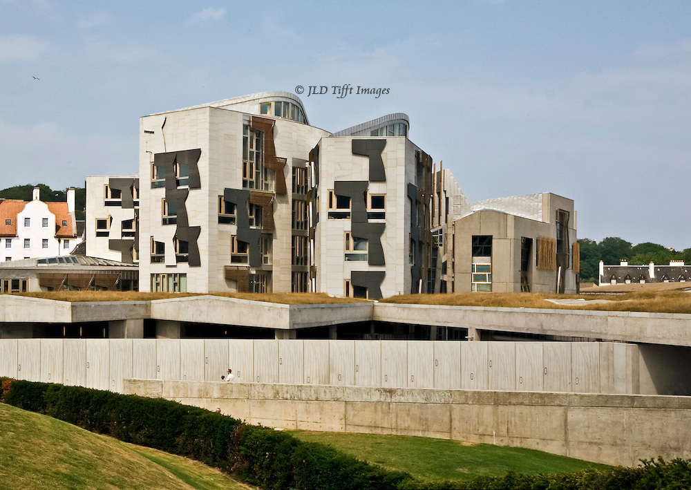 Scottish Parliament Building, Edinburgh, built 1999-2004.  Architect Enric Miralles.  Environmentally sustainable construction methods, winning the Stirling Prize in 2005 despite controversies over its appearance.