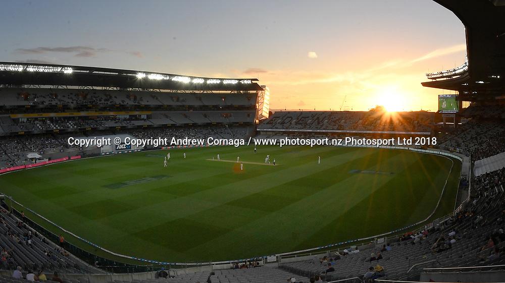 General view.<br /> New Zealand Blackcaps v England. 1st day/night test match. Eden Park, Auckland, New Zealand. Day 1, Thursday 22 March 2018. &copy; Copyright Photo: Andrew Cornaga / www.Photosport.nz