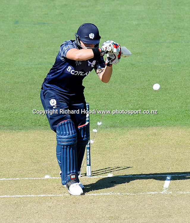 Calum Macleod batting for Scotland during the ICC Cricket World Cup match between New Zealand and Scotland at university oval in Dunedin, New Zealand. Photo: Richard Hood/photosport.co.nz
