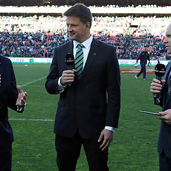 JOHANNESBURG, SOUTH AFRICA - JULY 25: Justin Marshall rugby commentator with Bob Skinstad Supersport rugby commentator and Jeff Wilson Sky TV rugby pundit during The Castle Lager Rugby Championship 2015 match between South Africa and New Zealand at Emirates Airline Park on July 25, 2015 in Johannesburg, South Africa. (Photo by Steve Haag/Gallo Images)