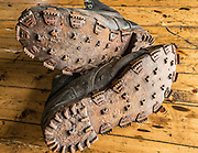 Tricounis - metal studs fitted on old leather boot soles to help grip on snow and ice, Wordie House, Argentine Islands, Antarctic Peninsula