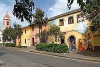 Italie, Sardaigne, peinture murale dans le village de Tinnura, artiste Pina Monne // Italy, Sardinia, Mural painting at Tinnura, by artist Pina Monne