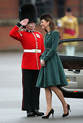 Catherine, Duchess of Cambridge arriving  at the 1st Battalion Irish Guards  St Patricks Day Parade at Mons Barracks, Aldershot, Saturday 17th March 2012. .Photo by: Stephen Lock / i-Images