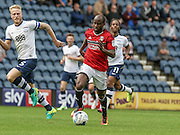 Fulham striker, Sone Aluko (24) attacks during the EFL Sky Bet Championship match between Preston North End and Fulham at Deepdale, Preston, England on 13 August 2016. Photo by Pete Burns.