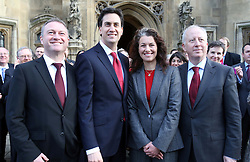 Labour leader Ed Miliband in Westminster , Monday, 3rd December 2012, with the three new Labour MP's from last week's by-elections . From left; Steve Reed (Croydon North), Sarah Champion, (Rotherham) and Andy McDonald (Middlesborough)   Photo by:  Stephen Lock /  i-Images