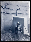 portrait of woman in daylight outdoor studio setting France ca 1920s