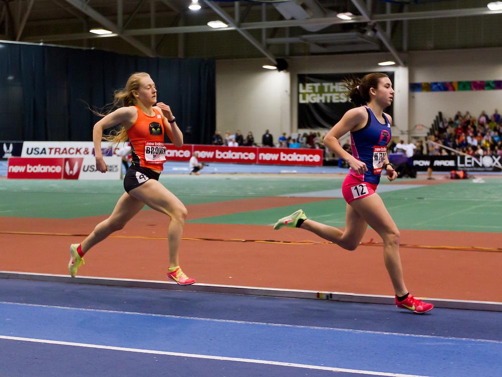 New Balance Indoor Grand Prix track meet: Girls One Mile Junior, Frazier, Brown,
