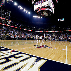 Oct 30, 2013; New Orleans, LA, USA; A general view of the opening tip off for the first game in New Orleans Pelicans franchise history against the Indiana Pacers at New Orleans Arena. Mandatory Credit: Derick E. Hingle-USA TODAY Sports