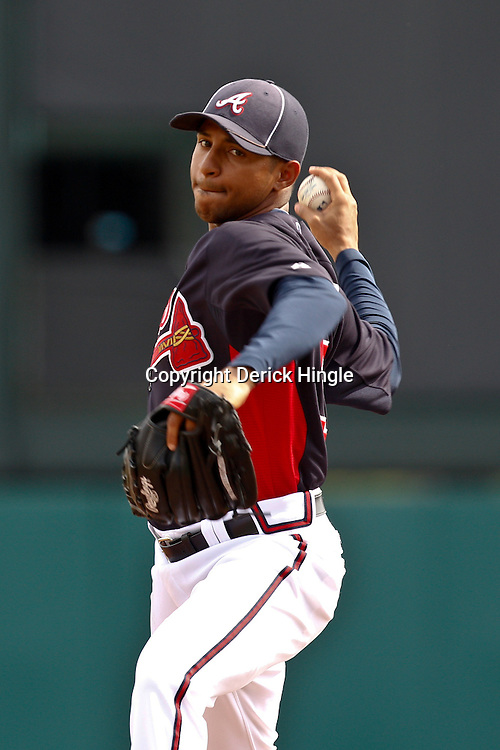 March 5, 2011; Lake Buena Vista, FL, USA; Atlanta Braves relief pitcher Anthony Varvaro (38) during a spring training exhibition game against the New York Mets at Disney Wide World of Sports complex.  Mandatory Credit: Derick E. Hingle