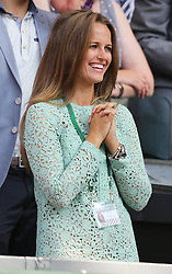 Emotional Kim sears after Andy Murray  wins  the Men's Final at the Wimbledon Tennis Championships in  London, Sunday, 7th July 2013<br /> Picture by Stephen Lock / i-Images