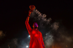 October 14, 2017 - Allahabad, India - An indian priest performs special dhooni aarti on the banks of holy sangam ,confluence of Ganges ,Yamuna and mythical Saraswati rivers, ahead of Deewali festival ,in Allahabad on October 14,2017. (Credit Image: © Ritesh Shukla/NurPhoto via ZUMA Press)