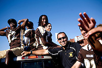 George Visger, 51, of Grass Valley, Ca., participates in the Staggs High School second annual homecoming parade, in Stockton, Ca., on Friday, Oct. 9, 2009. Visger has severe short-term memory loss due to multiple head injuries and survived 9 brain surgeries, caused by concussions incurred throughout his playing career. ..He works with the Coaches Concussion Clinic, the Brain Injury Association and the Hydrocephaleus Association to increase awareness of concussion-related injuries. ..Visger was a scholarship player for the University of Colorado Buffalos on the 1977 Orange Bowl team, and a 1980 6th round draft pick who played for the San Francisco 49ers, earning a Super Bowl ring for the 1981 Super Bowl Championship.