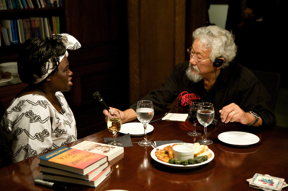 The Sauve? Scholars host an evening with Nobel Peace Prize winner Dr Wangari Maathai and Dr David Suzuki at their residence in Montreal, Canada on September 28th, 2009.