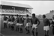 Waterford FC vs Manchester United at Lansdowne Road..1968..18.09.1968..09.18.1968..18th September 1968..Waterford FC as champions of the league of Ireland drew Manchester United, the European Champions,in the first round of this years competition.The Waterford team was as follows: Peter Thomas, Peter Bryan, Noel Griffin, Vinny Maguire, Jackie Morley, Jimmy McGeough, Al Casey, Alfie Hale, John O'Neill, Shamie Coad and Johnny Matthews. Manchester United won the tie 3 -1 with Denis Law being the man of the match..Alex Stepney,Tony Dunne,Francis Burns,Paddy Crerand,.Bill Foulkes,Nobby Stiles,George Best,Denis Law,.Bobby Charlton,David Sadler,Brian Kidd were the starting eleven for United...Image shows the Manchester united team lining up for the pre-match presentation.