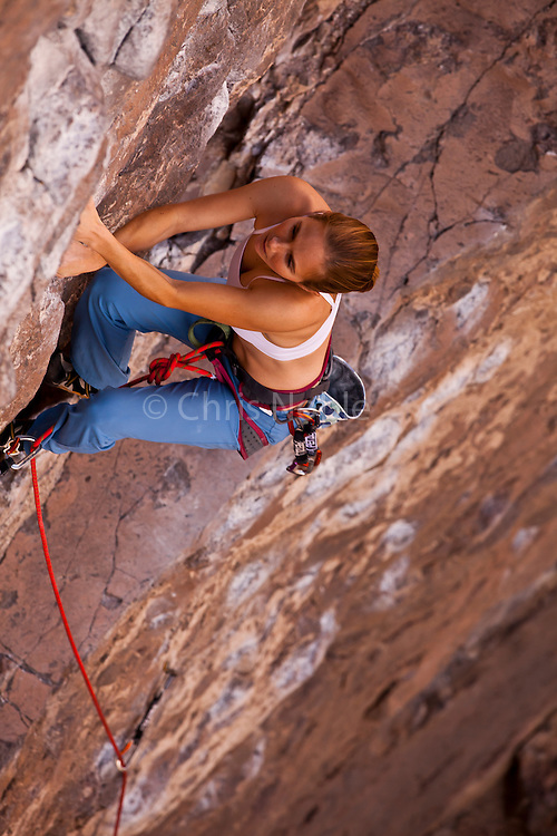 "Rock climber Beth Rodden leads the route ""Wall Banger"" rated 10c in the Owens River Gorge, Bishop California, USA."