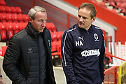 AFC Wimbledon manager Neal Ardley and Charlton Athletic manager Lee Bowyer walking out of the tunnel during the EFL Trophy match between Charlton Athletic and AFC Wimbledon at The Valley, London, England on 4 September 2018.