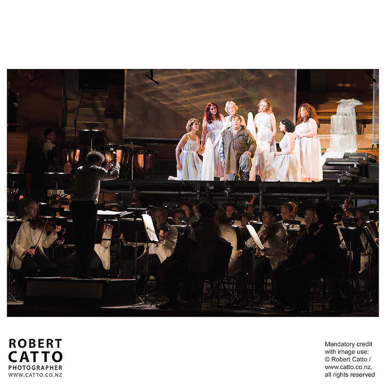 The NZSO performs under the baton of conductor Anthony Negus, with Simon O'Neill and others in Wagner's Parsifal, at the Michael Fowler Centre, Wellington New Zealand.