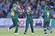 Steven Mullaney celebrates the wicket of Jesse Ryder (not shown) with Michael Lumb and Chris Read during the Natwest T20 Blast quarter final match between Nottinghamshire County Cricket Club and Essex County Cricket Club at Trent Bridge, West Bridgford, United Kingdom on 8 August 2016. Photo by Simon Trafford.