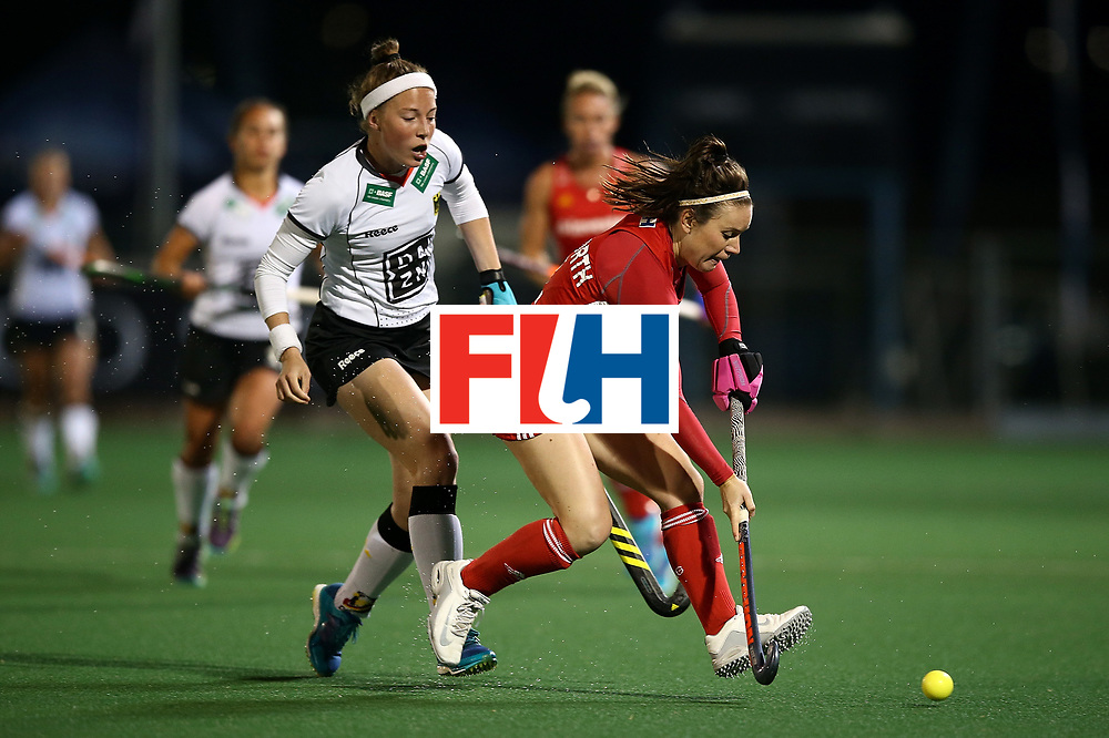 JOHANNESBURG, SOUTH AFRICA - JULY 14:  Laura Unsworth of England battles with Teresa Martin Pelegrina of Germany during day 4 of the FIH Hockey World League Women's Semi Finals Pool A match between Germany and England at Wits University on July 14, 2017 in Johannesburg, South Africa.  (Photo by Jan Kruger/Getty Images for FIH)