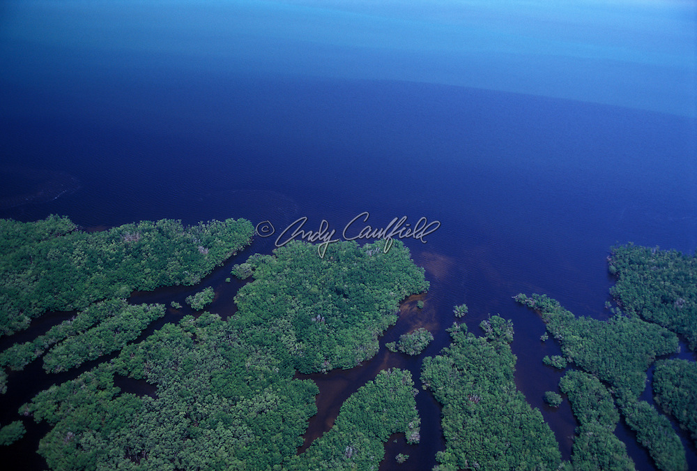 Aerial view of Everglades NP and Florida Bay, Florida USA