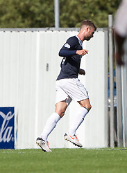 Falkirk's Rory Loy celebrates after scoring their first goal.<br /> half time : Falkirk 2 v 0 Morton, Scottish Championship 17/8/2013.<br /> &copy;Michael Schofield.