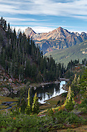 Bagley creek flowing through the Heather Meadows and Bagley Lakes area of the Mount Baker-Snoqualmie National Forest of Washington State, USA.  American Border Peak and Mount Larabee of the North Cascades are in the background.