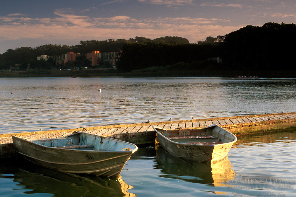 Row boats docked at Lake Merced, San Francisco, California