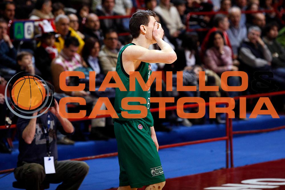DESCRIZIONE : Milano Lega A1 2007-08 Armani Jeans Milano Montepaschi Siena<br /> GIOCATORE : Vlado Ilievski<br /> SQUADRA : Montepaschi Siena<br /> EVENTO : Campionato Lega A1 2007-2008<br /> GARA : Armani Jeans Milano Montepaschi Siena<br /> DATA : 17/02/2008<br /> CATEGORIA : Delusione<br /> SPORT : Pallacanestro<br /> AUTORE : Agenzia Ciamillo-Castoria/G.Cottini