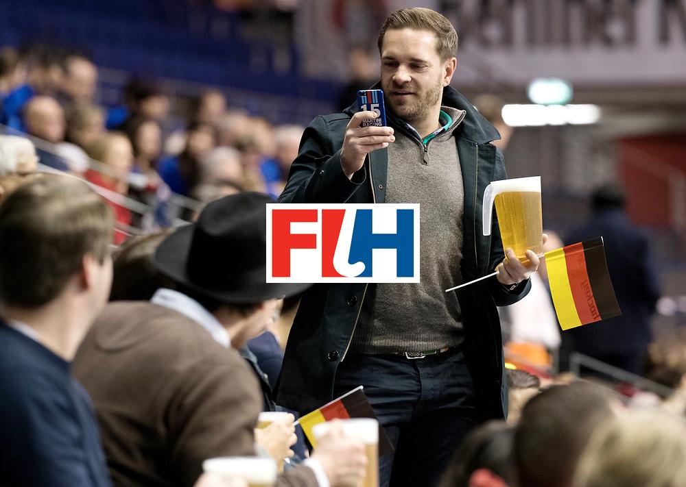 BERLIN - Indoor Hockey World Cup<br /> Men: Australia - Kazakhstan<br /> foto: Just a regular fan at 10:50 in the morning.<br /> WORLDSPORTPICS COPYRIGHT FRANK UIJLENBROEK
