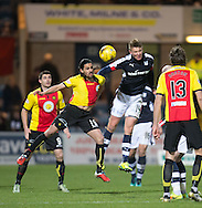 Dundee&rsquo;s Mark O&rsquo;Hara oujumps Partick Thistle's Ryan Edwards - Dundee v Partick Thistle in the Ladbrokes Scottish Premiership at Dens Park, Dundee.Photo: David Young<br /> <br />  - &copy; David Young - www.davidyoungphoto.co.uk - email: davidyoungphoto@gmail.com