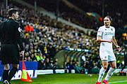 Leeds United defender Luke Ayling (2) reacts towards the linesman during the EFL Sky Bet Championship match between Leeds United and Millwall at Elland Road, Leeds, England on 28 January 2020.