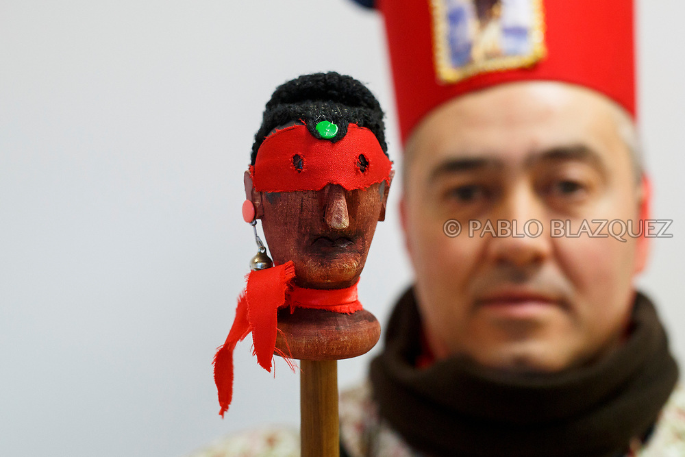 2018/02/02. ALMONACID DEL MARQUESADO, SPAIN - JANUARY 16: Worshipper José Luis Sánchez dressed as Diablo 'Devil' poses with his porra 'baton' during the Endiablada 'The Brotherhood of the Devils' festival on February 2, 2018 in Almonacid del Marquesado, Cuenca province, Spain. La Endiablada is a centenary tradition of unknown origins celebrated on Virgen de la Candelaria 'Our Lady of Candelaria' and San Blas 'Saint Blaise' days. The Diablos wear colourful clothes, a hat and carry bells and personalised porras 'batons'. (Photo by Pablo Blazquez Dominguez)