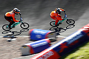 BMX Qualification, Judy Baauw (Netherlands), Manon Weenstra (Netherlands) during the Cycling European Championships Glasgow 2018, at Glasgow BMX Centre, in Glasgow, Great Britain, Day 9, on August 10, 2018 - Photo luca Bettini / BettiniPhoto / ProSportsImages / DPPI<br /> - Restriction / Netherlands out, Belgium out, Spain out, Italy out -