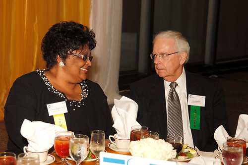 Idotha Bootsie Neal of Wright Dunbar, Inc (left) and Harry Seifert of Standard Register Company during the Better Business Bureau's Eclipse Integrity Awards dinner at the Ponitz Center at Sinclair Community College in downtown Dayton, Tuesday, May 8, 2012.