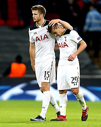 Eric Dier of Tottenham Hotspur and Harry Winks of Tottenham Hotspur celebrate their sides 3-1 win over CSKA Moscow - Mandatory by-line: Robbie Stephenson/JMP - 07/12/2016 - FOOTBALL - Wembley Stadium - London, England - Tottenham Hotspur v CSKA Moscow - UEFA Champions League
