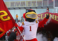 September 2 2010: Iowa State mascot, Cy, before the first half of the NCAA football game between the Northern Illinois Huskies and the Iowa State Cyclones at Jack Trice Stadium in Ames, Iowa on Thursday September 2, 2010. Iowa State defeated Northern Illinois 27-10.